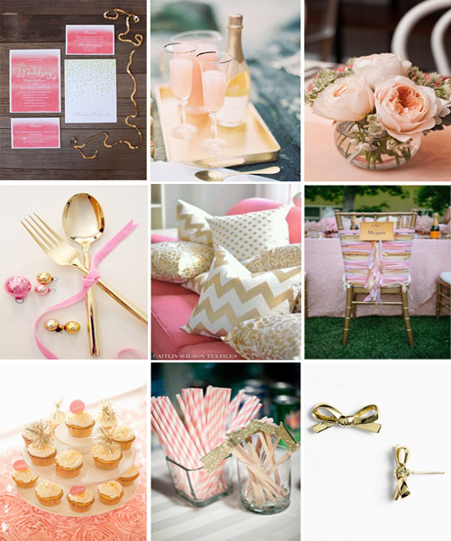 Gold, Pink, and Pops of Glitter