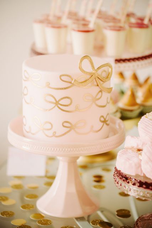 Pink-Gold-Bow-Cake